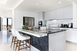 White and grey modern kitchen