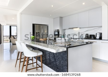 White and grey modern kitchen  Foto stock ©