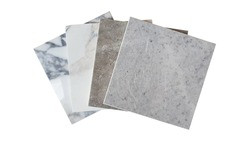 white and grey tile samples collection isolated on white background with clipping path. luxury marble and stone ceramic tile use as interior material for flooring ,counter top ,back splash works.
