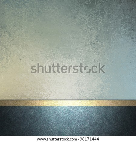 white and light and dark blue background with gold trim ribbon layout decoration for sign or template card with copy space and vintage grunge texture and soft faded pastel color for Easter