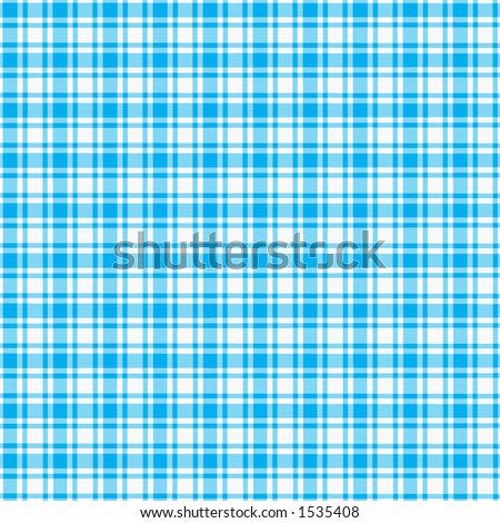 White and light blue plaid with fabric texture.
