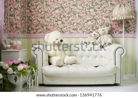 White And Pink Room With Flowers Teddy Bears White Sofa And Lamp
