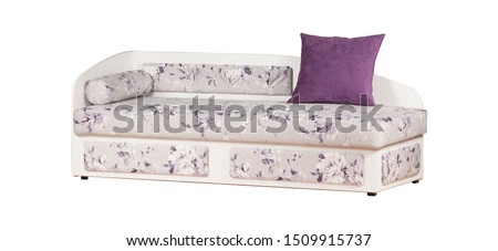 White and purple sofa isolated