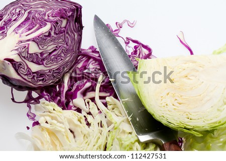 White and Red  Cabbage  on White Background