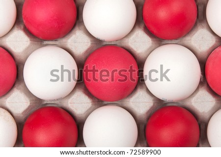 white and red eggs, background - stock photo