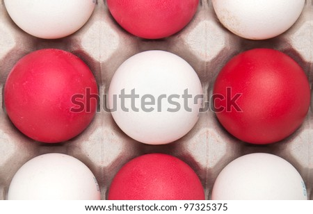 white and red eggs, background