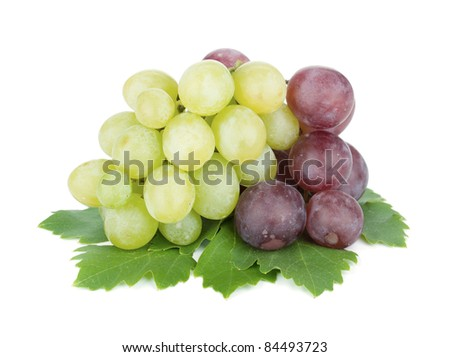 White and red grapes. Isolated on white background