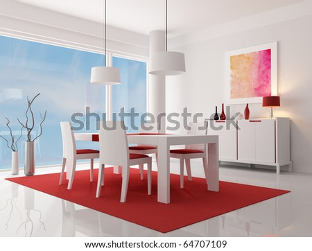 white and red modern living room - rendering -  the art work on wall is a my composition