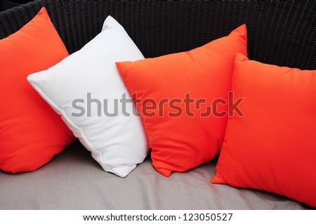 White and red pillows