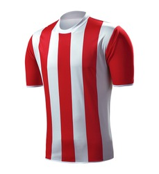 white and red striped soccer jersey, sports t-shirt, soccer uniform