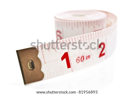White and red tape measure on a white background with space for text