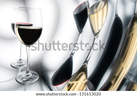 White and red wine. The concept of distortion