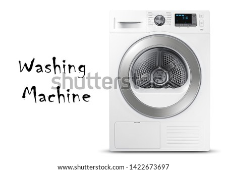 White and Steel Washing Machine Isolated on a White Background. Washer Machine Front View. Front Load Washer Machine with Electronic Control Panel. Modern Domestic Major Appliances. Home Appliance #1422673697