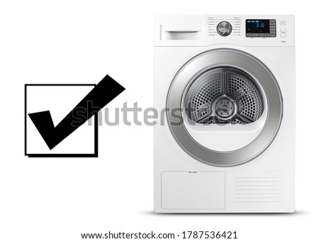 White and Steel Washing Machine Isolated on a White Background. Washer Machine Front View. Front Load Washer Machine with Electronic Control Panel. Modern Domestic Major Appliances. Home Appliance