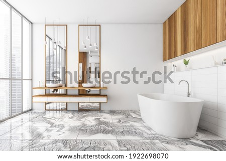 White and wooden bathroom with two sinks, white bathtub on tiled marble floor, side view. White stylish bathroom with shelf and window, 3D rendering no people
