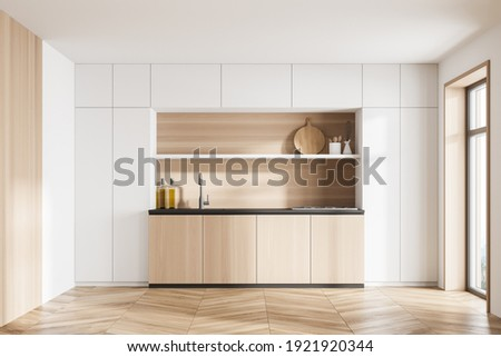 White and wooden kitchen set and deck with appliances, front view, window with sunlight. Wooden luxury kitchen on parquet floor, 3D rendering no people