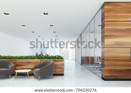 White and wooden office with a waiting area. There are two gray armchairs and a coffee table near flower beds. 3d rendering mock up