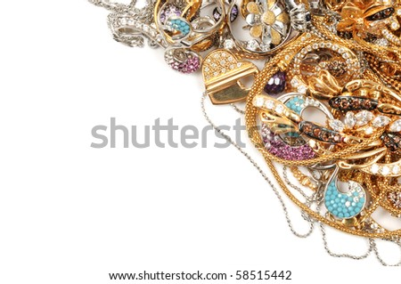 White and yellow gold jewelry background