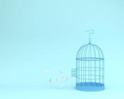 White angel feathers floating outside retro bird cage on pastel blue background  minimal idea concept of freedom