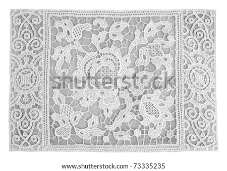 White antique fine lace floral ornament.