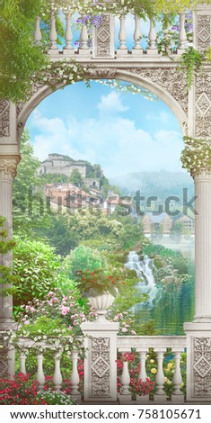 White arch with a view of the mountains and swans. Digital fresco. Modular panno.