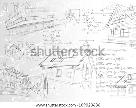white architectural calculation notes formulas and sketches