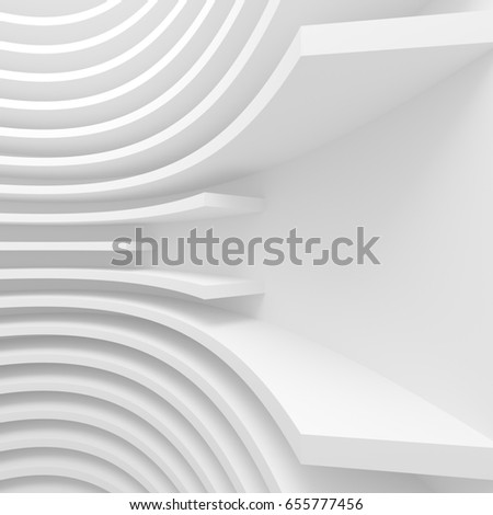White Architecture Circular Background. Abstract Building Design. 3d Modern Architecture Render. Futuristic Building Construction
