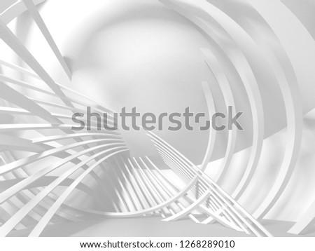 White Architecture Construction Modern Interior Background. 3d Render Illustration #1268289010