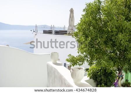 White architecture in Santorini, Greece #434674828