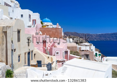 White architecture of Oia village on Santorini island, Greece - stock photo