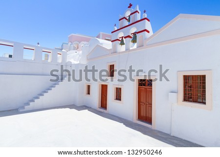 White architecture of Oia village on Santorini island, Greece