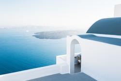 White architecture on Santorini island, Greece. Beautiful landscape at sunset, sea view