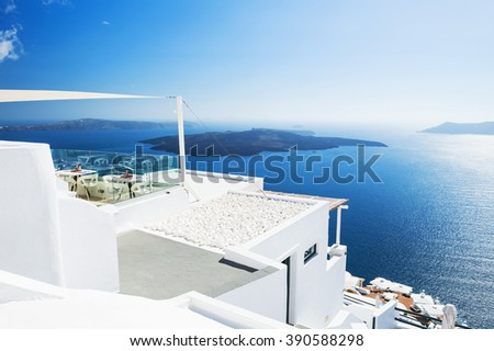 White architecture on Santorini island, Greece. Beautiful landscape with sea view #390588298