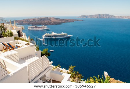 White architecture on Santorini island, Greece, Europe. Beautiful view on the sea.