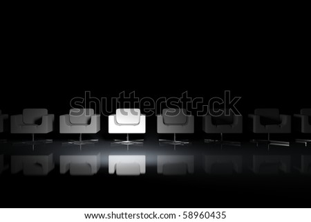 White armchairs on a black background with light effect
