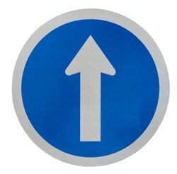 White  arrow on blue traffic sign on white background