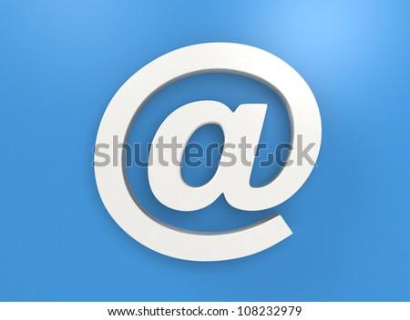 white at symbol mark on light blue background