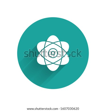 White Atom icon isolated with long shadow. Symbol of science, education, nuclear physics, scientific research. Electrons and protons sign. Green circle button.