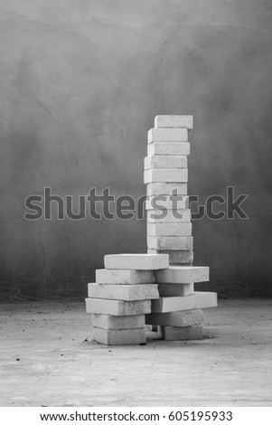 white Autoclaved aerated concrete bricks in beautiful stacking shape