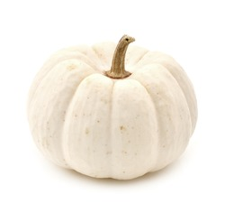 White autumn pumpkin isolated on a white background