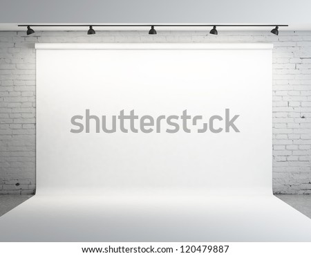 White backdrop in room with grey paint on wall - Shutterstock ID 120479887