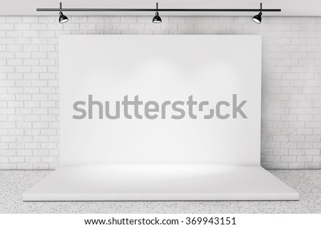 White Backdrop Stage in Room with Brick Wall extreme closeup