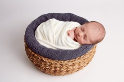 white background, basket, asleep, beautifulbaby calm calmbaby calmness cutebaby cutebabygirl