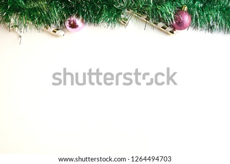 white background decorated with Christmas garlands #1264494703