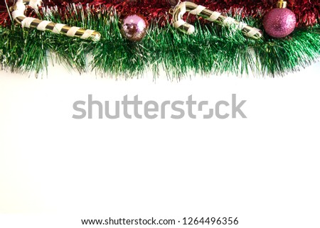 white background decorated with Christmas toys Zdjęcia stock ©