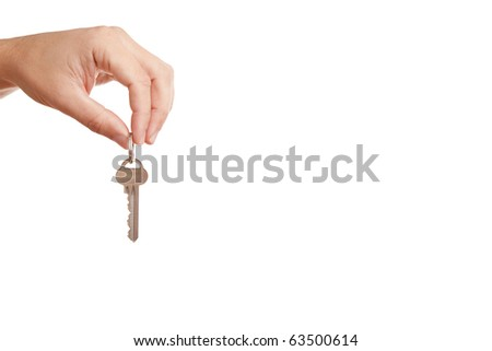 White background for your text with hand, holding modern key
