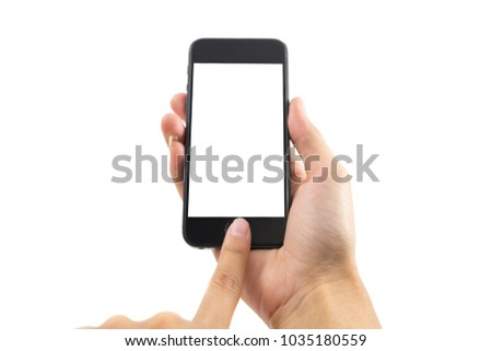 white background hand of caucasian woman hold mobile phone and touch on blank screen with copy space. image for body, technology, communication, gadget, isolated, person, business, telephone concept #1035180559