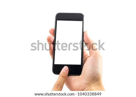 white background hand of caucasian woman hold mobile phone and touch on blank screen with copy space. image for body, technology, communication, gadget, isolated, person, business, telephone concept #1040338849