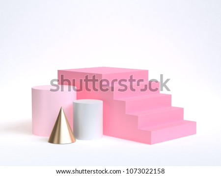 white background soft pink gold geometric shape pink staircase-stairway 3d rendering