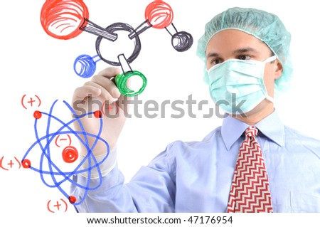 White background studio image of a  researcher drawing molecular structure on glass